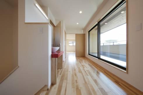 二階廊下(室内干と半外干と外干)